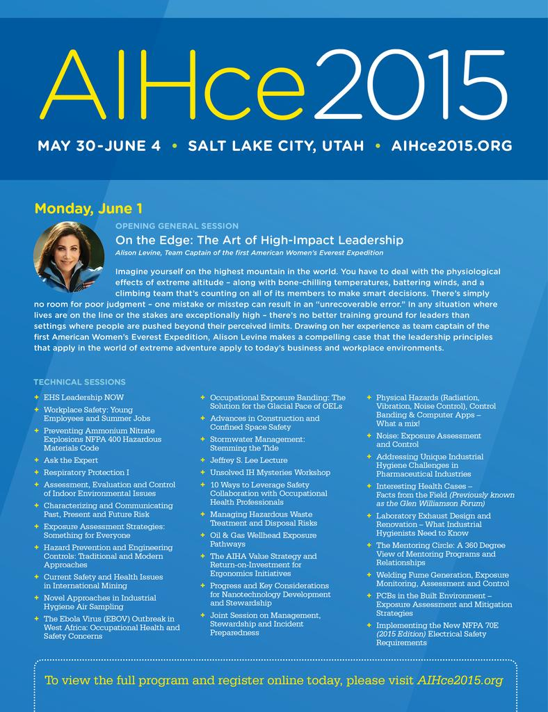 thumbnail for AIHCE 2015 TECHNICAL SESSIONS